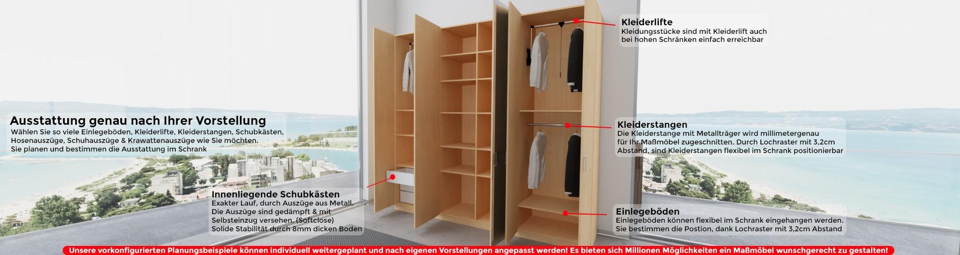 Kleiderschrank Maßanfertigung Ausstattung nach Wunsch