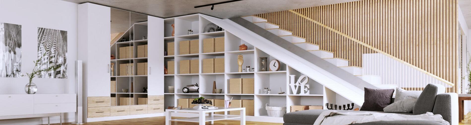 Eckkleiderschrank mit Regal für unter die Treppe
